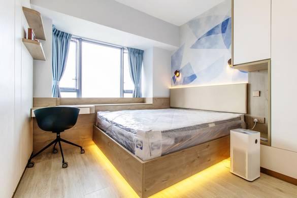 數碼港貝沙灣主人房裝修北歐風室內設計