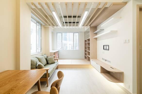 觀塘海景大廈大廳裝修無印風室內設計