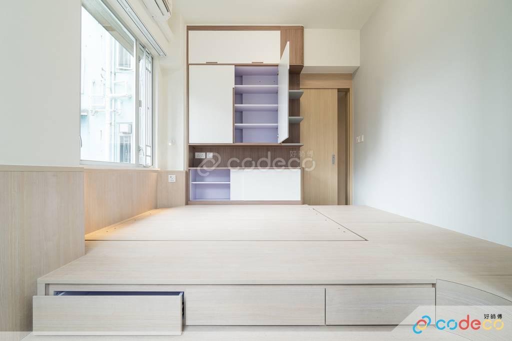 觀塘海景大廈主人房地台床裝修