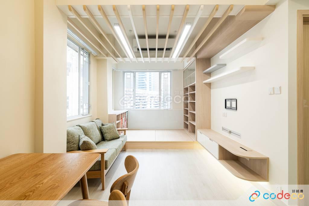 觀塘海景大廈大廳木條子裝修