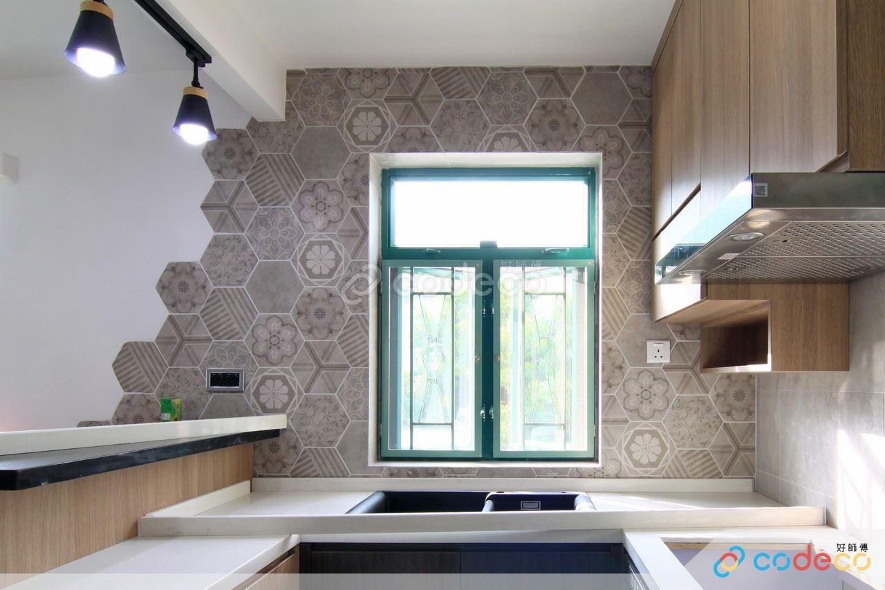 明煌花園廚房六角形磚案例