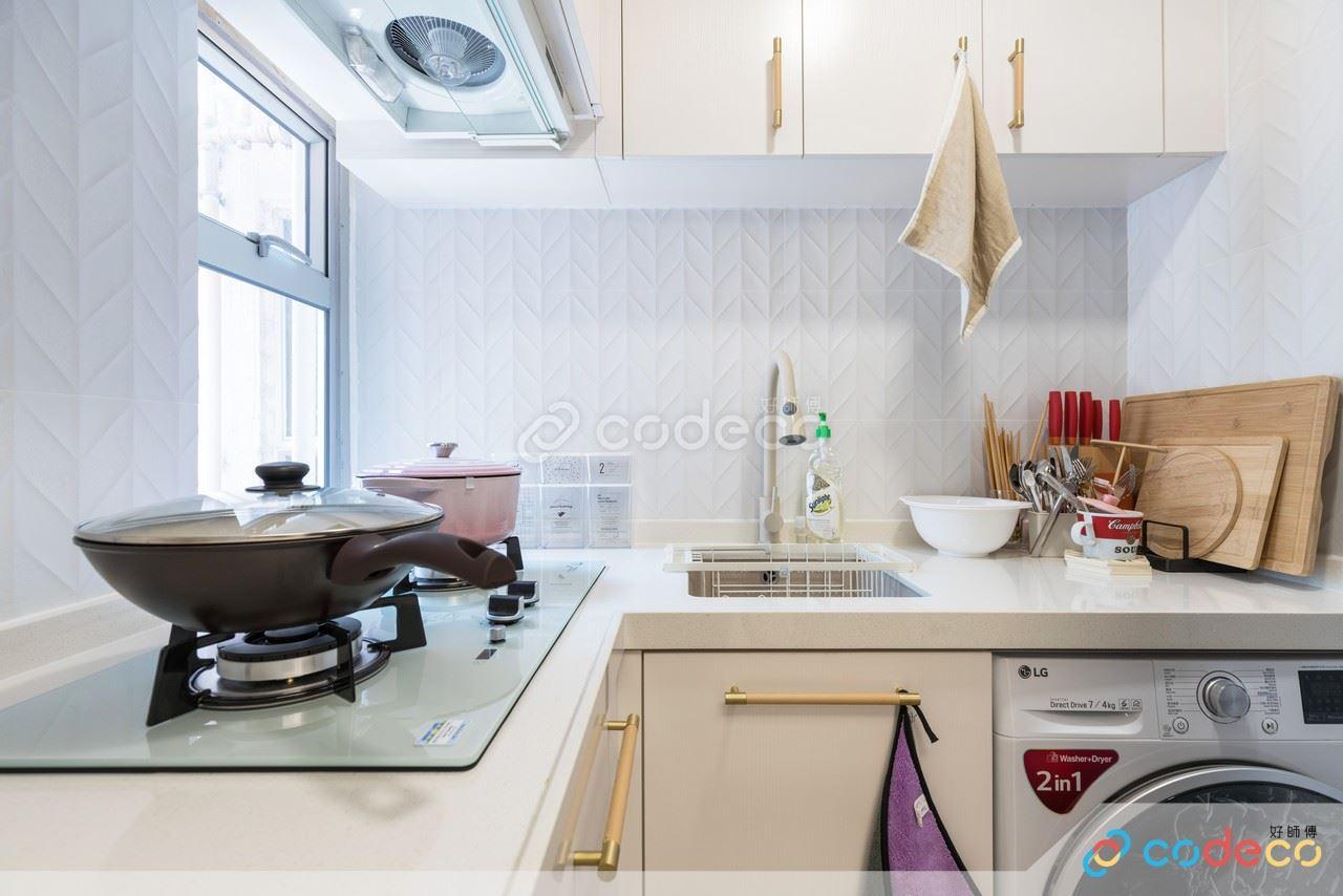 安和園廚房壓花磚案例