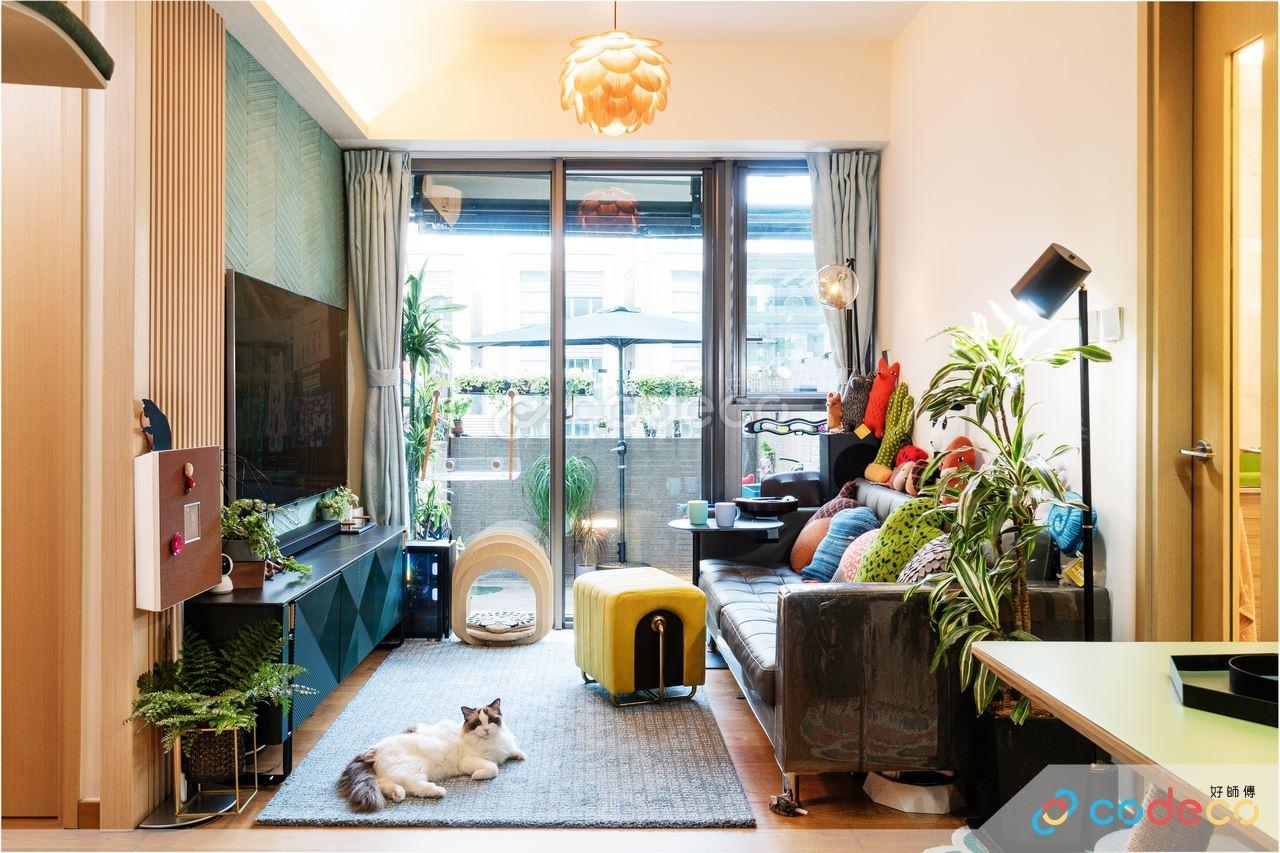 將軍澳海翩匯綠色特色牆電視牆大自然植物佈置客廳設計
