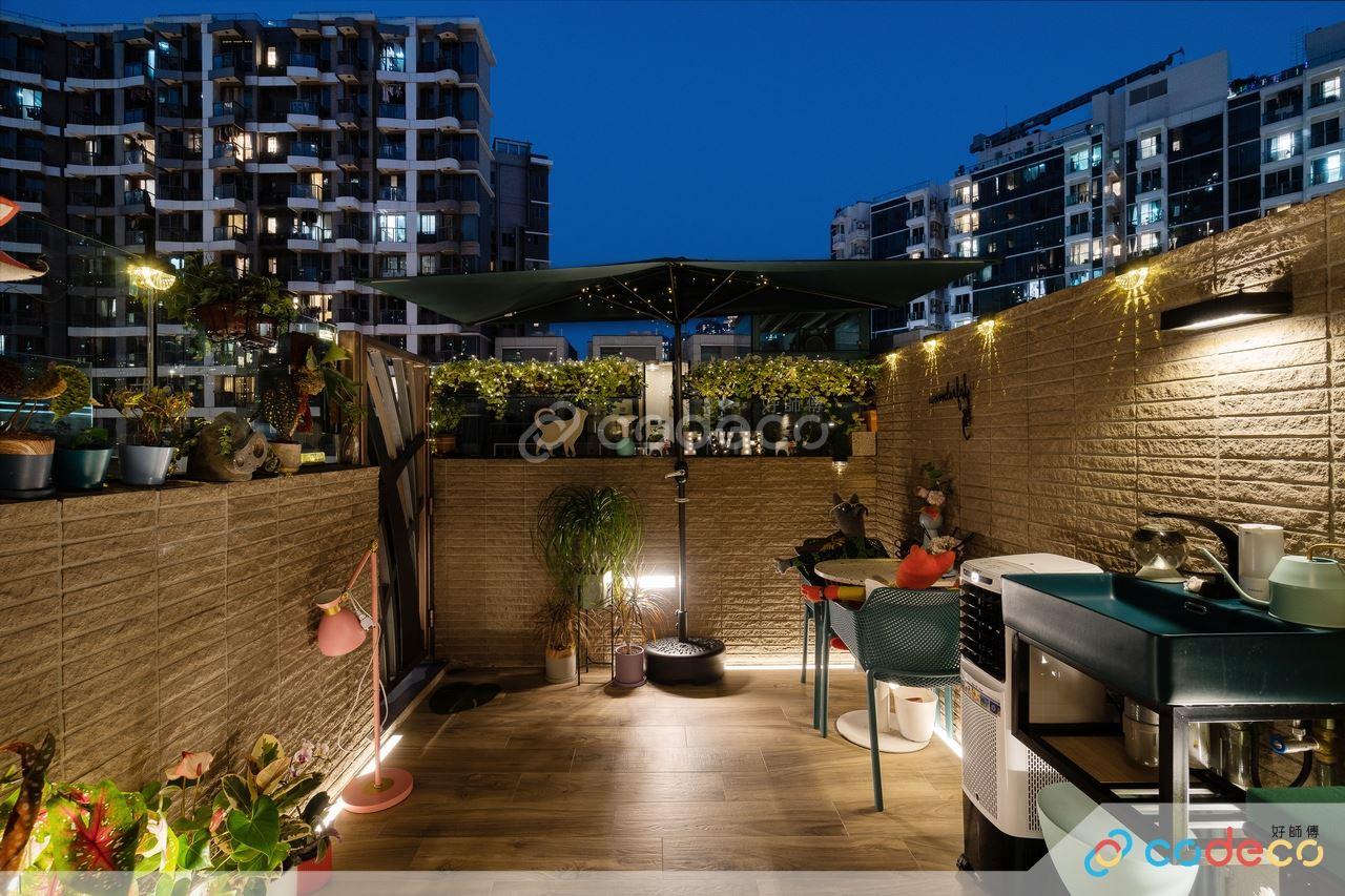 綠色大自然木系植物日式小庭院露台陽台設計佈置