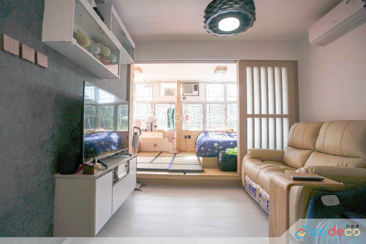 玻璃趟門地台 廳間房設計案例