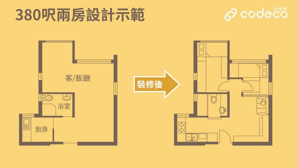 380呎(廳大款)2房平面圖