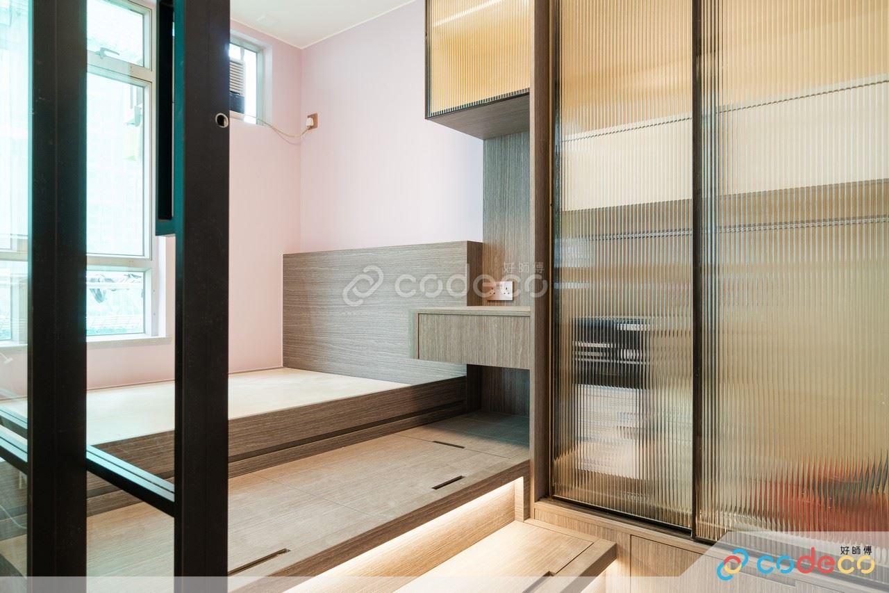 居屋設計參考 拆牆做玻璃間隔 長虹玻璃地台衣櫃