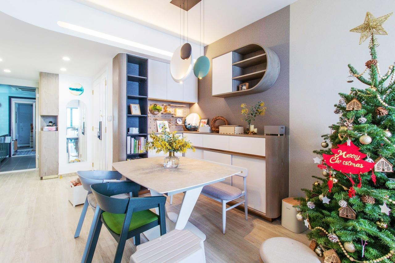 數碼港貝沙灣飯廳裝修北歐風室內設計