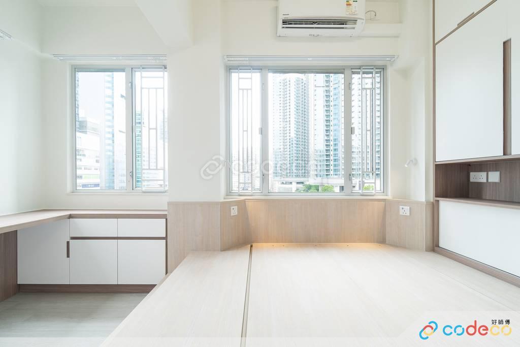 觀塘海景大廈主人房裝修無印風室內設計